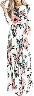 Women Spring Floral Printed Dress Long Sleeve Maxi Dress with Pocket