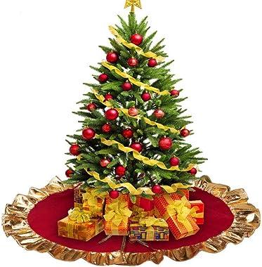 Lim Jupe de Sapin de Noël,Jupe de Noël en Feutre Rouge et Or 36 Pouces 90cm, décorations pour Arbres de Noël, décorations de