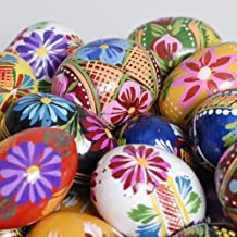 Vividly Painted Wooden Egg, Set of 2