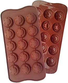 Chocolate Mold Tray Silicone Ice Cube Party maker perfect for DIY frozen ice, pudding, jelly candy (Brown Emoji (2 PACK))