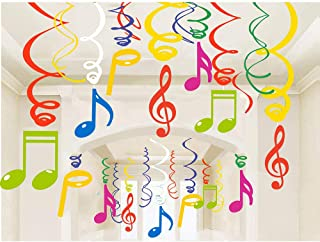 30Ct Colorful Music Sign Hanging Swirl Decorations - Music Sign Birthday Party Supplies Fan Decors