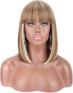 Kalyss Blunt Bob Short Hair Wig for Black Women Mix Blonde Color Heat Resistant Yaki Synthetic Hair Women's Wig With Hair Bangs