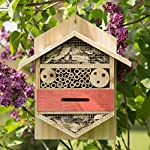 Relaxdays Insect Hotel, Hexagonal Nest Aid for Bees, Ladybirds, for the Garden, Balcony, HxWxD: 33.5 x 28.5 x 10 cm, Natural