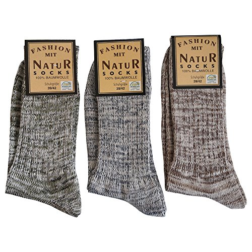 6 Paar Herren Jeans Socken 100% Baumwolle ohne Naht Natur Melange (47-50)