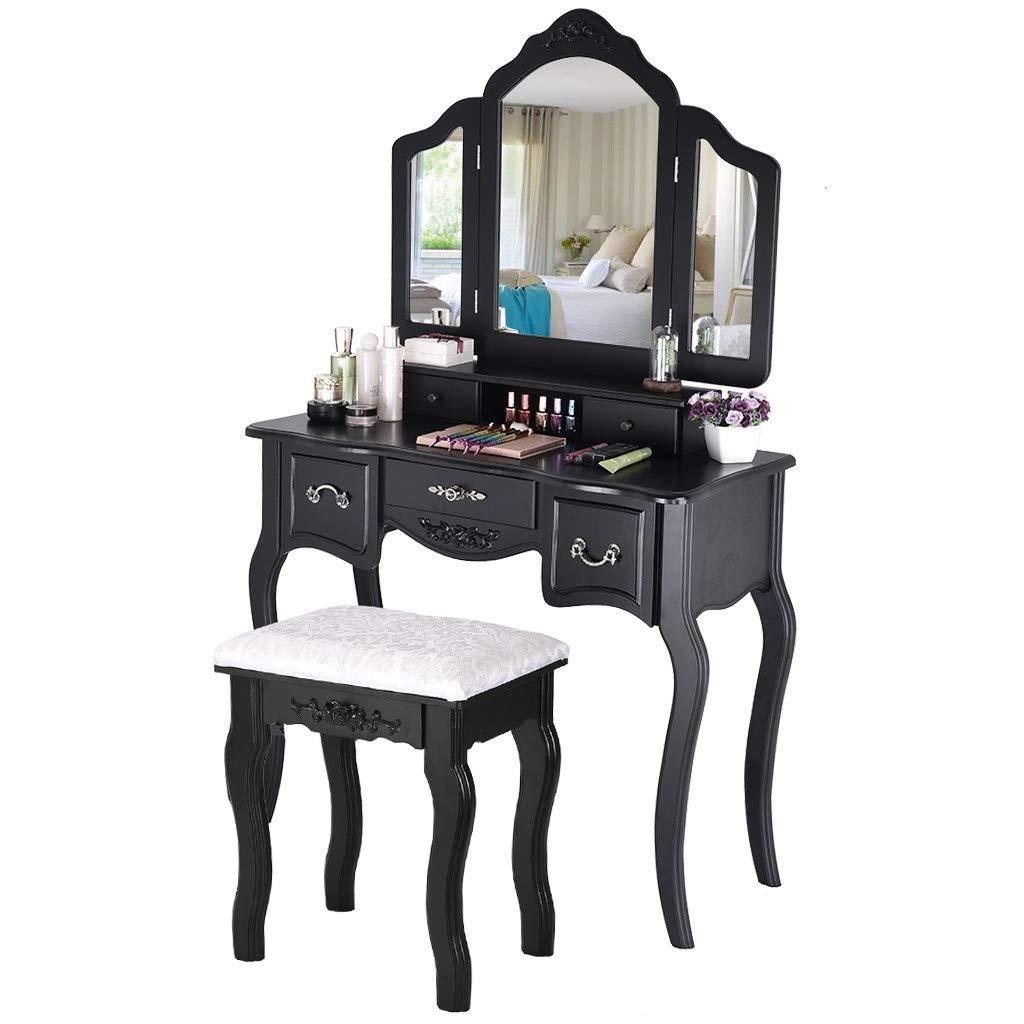 Lavany - Juego de tocador con Espejo Organizador de Maquillaje, Taburete de Madera Acolchado, tocador, tocador, Mesa de Maquillaje, 3 Espejos, 5 cajones organizadores, US Stock: Amazon.es: Juguetes y juegos