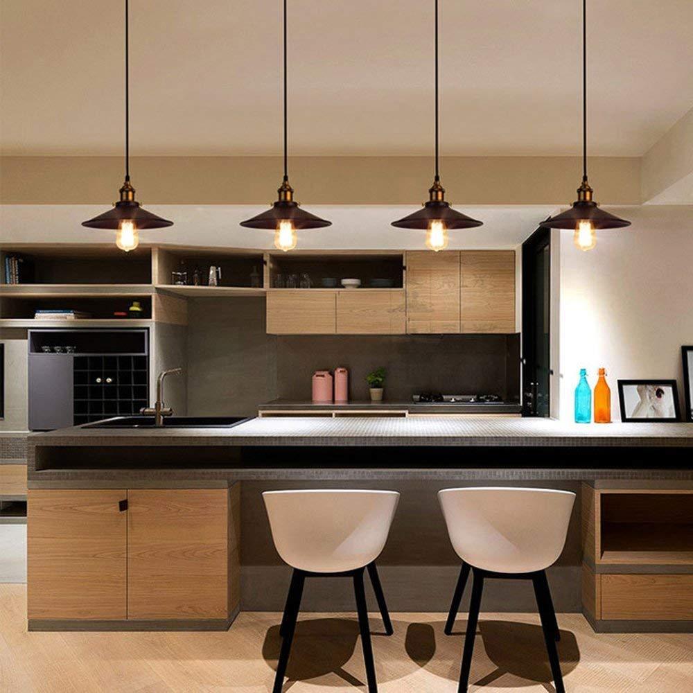 Colgante vintage Lámpara de techo industrial Accesorio de iluminación interior Acabado de bronce metálico con enchufe de luz E27 para sala de estar cocina corredor: Amazon.es: Iluminación