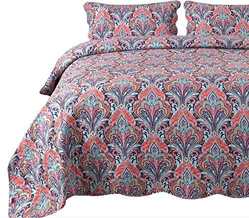 Qucover Paisley Tagesdecke Bettüberwurf mit Kissenbezug Bunt Böhmisch Steppdecke Rot blau Weich Gesteppte Decke für Doppelbett Boho Stil Sofaüberwurf Bettüberwurf (230x250 cm, Paisley4)