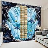xmydeshoop 2017 Cortinas Opacas Modernas Cortinas De Ventana 3D de la Costa para Dormitorio Ropa de Cama Cortinas de Hotel para Sala de Estar CL-DLM810 166(H) x75(W) Cmx2