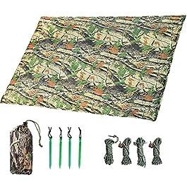 LOOGU Tarp Camouflage Anti-Pluie Camping Rain Tente Bâche Portable Ripstop Légèr Imperméable à l'eau pour Randonnée…