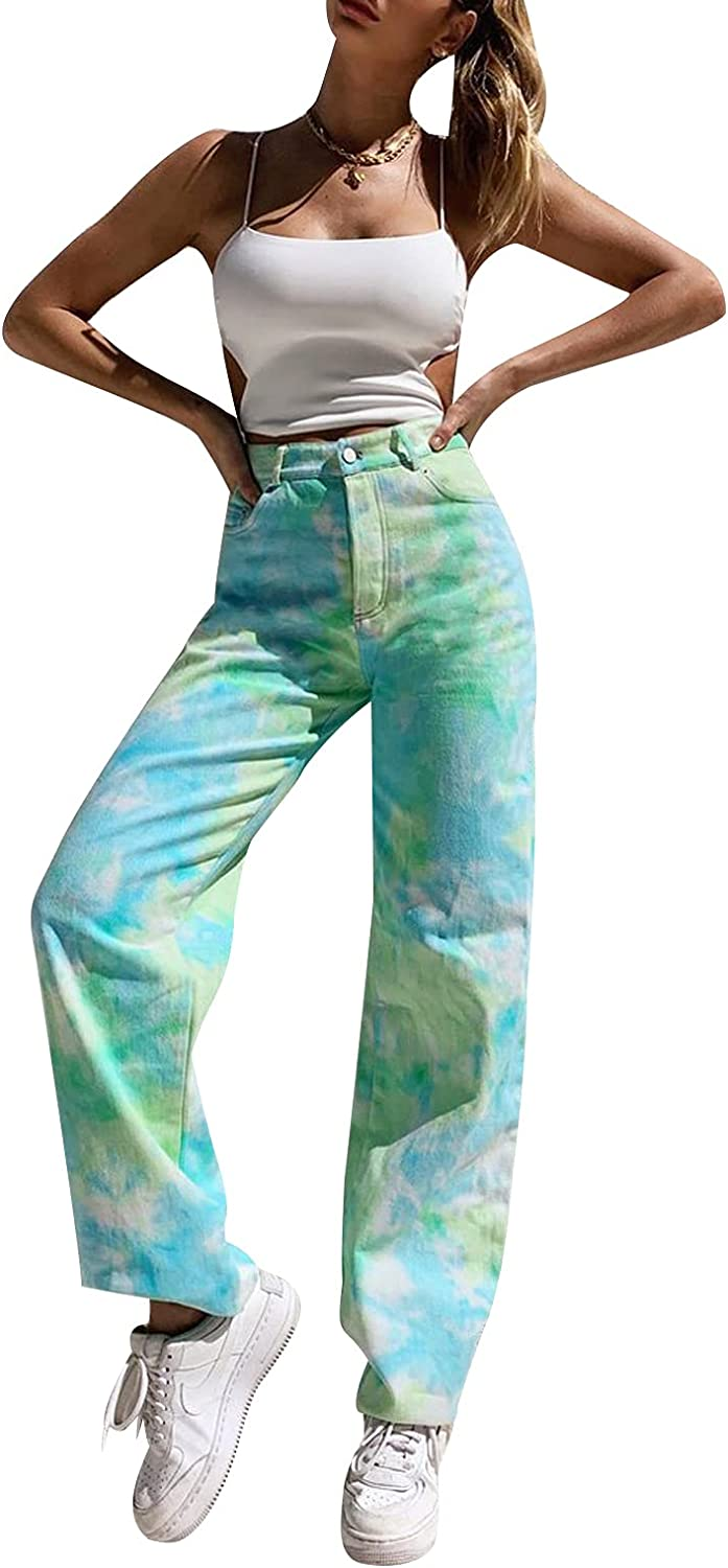 At the price of surprise Viatabuna Patchwork Jeans for Women St High Leg Max 74% OFF Waisted Straight