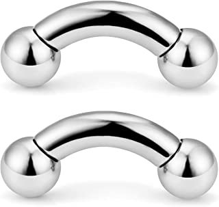 2PCS PA Ring Curved Barbell Internally Threaded Monster Screwball Rings 316L Surgical Steel Pierced Body Jewelry 00G 0G 2G 4G 6G 8G