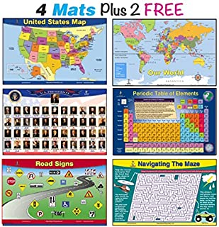 Brainy Mats Educational Kids Placemats (Explorer) Set Includes 4 Mats plus 2  this Bundle Includes USA Map, World Map, US Presidents, Periodic Table plus 2 no Charge - Road Signs and Mazes