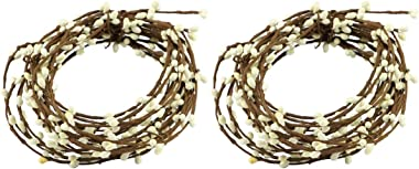 HAPPY DEALS ~ Pip Berry Garland | 21.5 Feet Long | Ivory White | Country Primitive Floral Craft Decor (2 Pack)