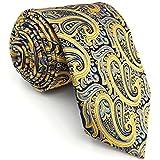 shlax&wing Corbatas Para Hombre Amarillo Azul Cachemir Seda
