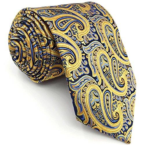shlax & wing Corbatas para hombre Amarillo azul Paisley Seda Corbata Boda dorada
