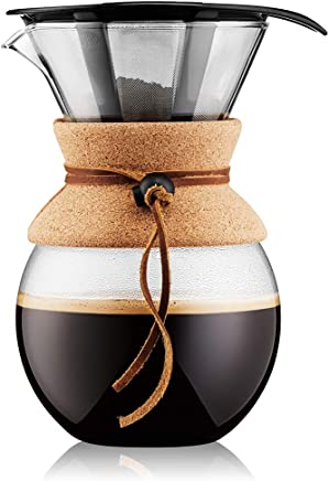bodum Pour Over Coffee Maker with Permanent Filter, Cork, 34 Ounce, 1 Liter, (11571-109)