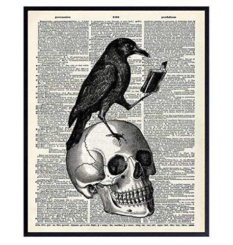 Gothic Edgar Allan Poe The Raven Poster - 8x10 Hipster Vintage Skull Wall Art, Home Decor or Room Decoration - Funny Unique Affordable Gift for Goth Fans - Dictionary Art Photo Picture Print