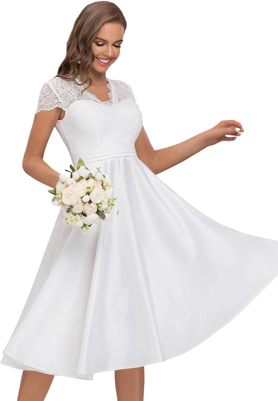 Alisapan Women's V Neck Contrast Lace Satin Prom Dress Wedding Guest Dress 40400