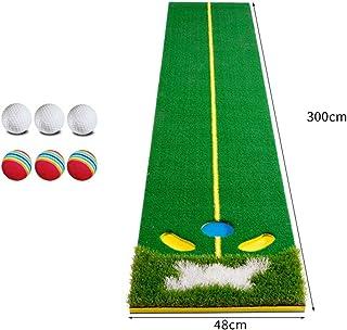 パット練習器具 屋内および屋外のためのパターゴルフボールが付いている専門の大きいマットの人工的な草のゴルフ訓練の援助装置のマットのゴルフパッティンググリーン (色 : 緑, サイズ : Accessories)