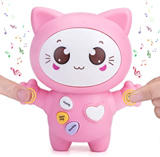 Sopu Touch Music Recording Cat Toys, Transmit Love Express Interactive Toy with Play Notes & Music, Bright LED Light, Demo and Talking Smart Gifts Cat Toy for Kids/ Lovers (Pink)