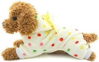 Pijama de perro de forro polar Selmai con diseño de lunares y cuatro patas, para perro pequeño