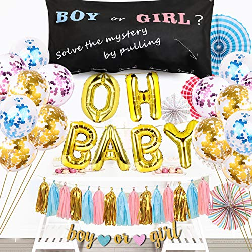 Gender Reveal Balloon Drop Bag Party Supplies Set Oh Baby Decorations 94 PCS