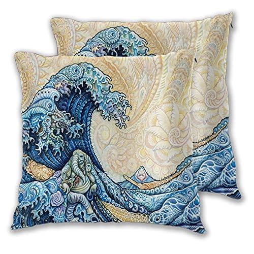 JISMUCI 2 Pezzi Fodere per Cuscini,Hokusai The Great Wave Japanese Style Art Painting,Decorativi Copricuscini Quadrati Morbidi Federe Cuscini per Divano Camera da Letto Auto,45 x 45 cm