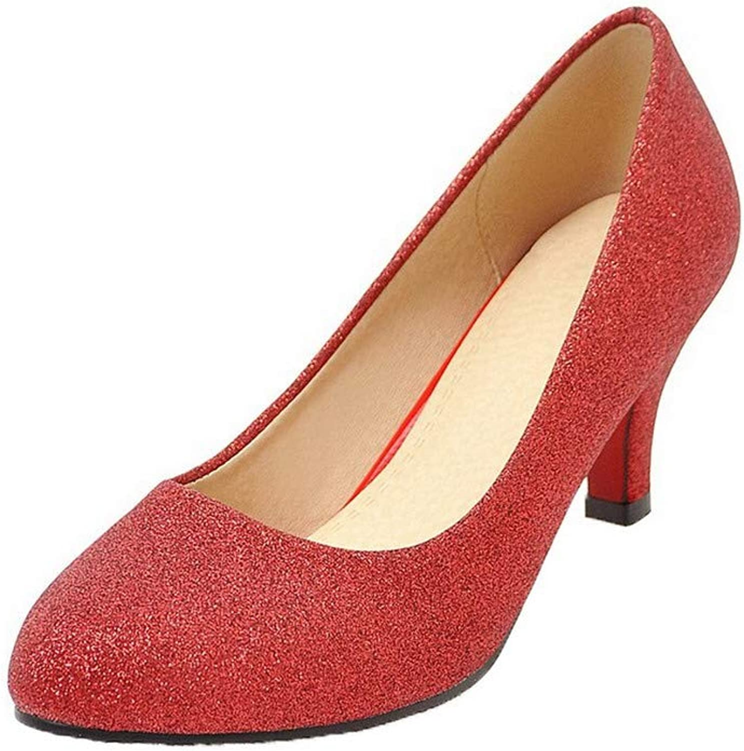 AmoonyFashion Women's Round Closed Toe Pull-On Pumps-shoes,BUTDT005774