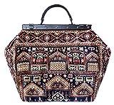 BOLSA DE ALFOMBRA. La auténtica bolsa de Mary Poppins estilo vintage con asa de cuero y correa desmontable. SAC-VOYAGE Intarsia Navy
