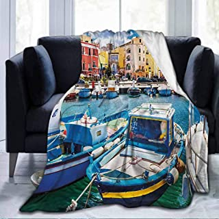 dsdsgog Flannel Decorative Durable Bed Couch Italy,Colorful Procida Island with Fishing Boats Summertime Tourism Vacation Travel Theme,Multicolor,60