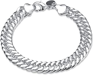 "NA BEAUTY Sterling Silver Italian Cuban Link Curb Chain 10mm, 8"" Bracelet/Anklet"