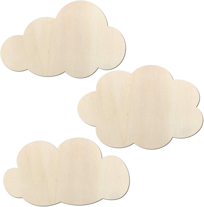 Kleenes Traumhandel - Juego de 3 nubes - Decoración para dormitorio de hasta 80 cm de ancho por nube de madera (20 cm de ancho).