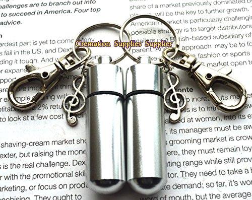 Llavero de urna cilíndrica con nota musical para recuerdo de ceniza, recuerdo de ceniza, nota musical de cremación, llavero con medallón, regalo de duelo