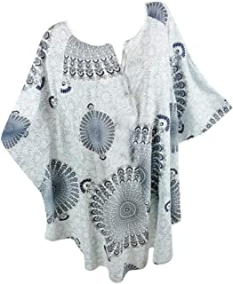 〓COOlCCI〓Women Plue Size Short Sleeve V Neck Short Sleeve Batwing Sleeve Casual Loose Tunic Top Blouses Tees Shirt