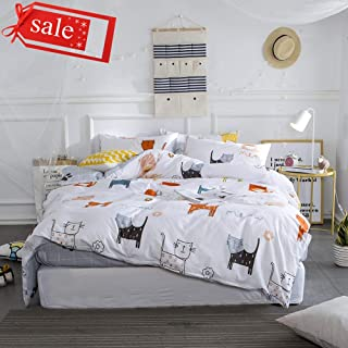 Cotton Cute Bedding Sets White Gray Full/Queen Duvet Cover Sets Cat Animal Printed Bedding, Soft Plaid Design Comforter Quilt Cover Sets Zipper Closure, Home Textile Gift for Boy Girl Woman Man Teen