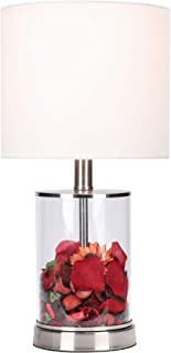 CO-Z Fillable Table Lamp with Clear Glass and Steel Base, 18'' Modern Desk Lamp, Accent Lamp, UL Certificate.