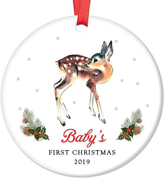 Baby S First Christmas Ornament 2019 Cute Boy Girl Little Deer Fawn Gender Neutral Newborn Child 1st Holiday Ceramic Family Keepsake Gift Idea 3 Flat Porcelain With Red Ribbon Free Gift Box OR00085