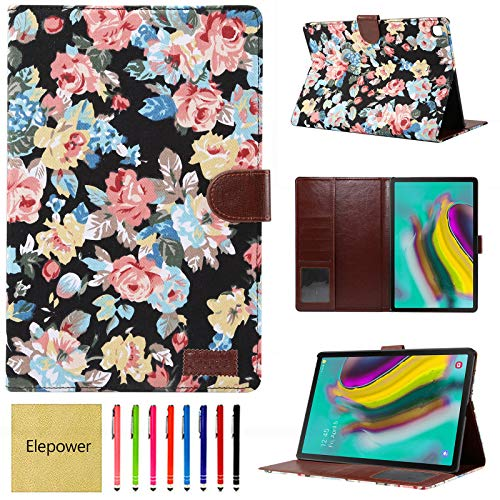 Elepower Galaxy Tab S5e Case SM-T720 T725 2019 Release, Slim Fit Folio Stand Flower Cloth Leather Smart Protective Cover with Auto Sleep/Wake for Samsung Galaxy Tab S5e 10.5 Inch, Black