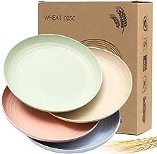 Juego de platos de paja de trigo, 19 cm, 4 unidades, discos resistentes a las astillas