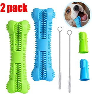 BAGEN Dog Toothbrush Stick 1Pack / 2 Pack - Dog Chew Toys for Small and Medium Breed - Doggie Dental Bone Brushing Food Safety Grade Natural Silicone pet Brush Bite-Resistant for Puppy Teeth Cleaning