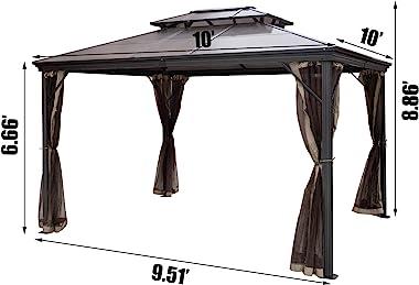 Happybuy Polycarbonate Hardtop Roof Gazebo 10' x 10' with Netting - Metal Gazebo Aluminum Permanent Double Tier Roof-