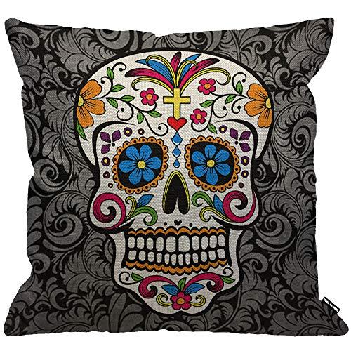 HGOD DESIGNS Cushion Cover Sugar Skull,Throw Pillow Case Home Decorative for Men/Women Living Room Bedroom Sofa Chair 18X18 Inch Pillowcase 45X45cm