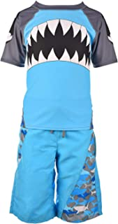 Fin Fun Boys Blue Shark Rash Guard and Board Short Swim Suit Set - Youth Medium