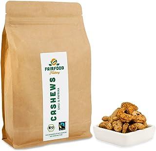 Bio Fairtrade Cashewkerne Chili & Paprika 500g | Geröstet in Freiburger Manufaktur | Fair gehandelte Cashews aus Burkina Faso
