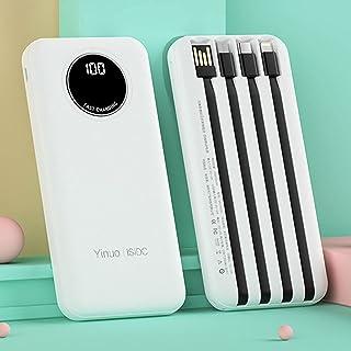 DNGDD Power Bank 20 000 mAh med 4 kablar, LCD-skärm, bärbar laddare hög kapacitet extern batteripaket telefonladdare kompa...