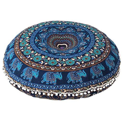 Ganesham Rundes Dekokissen im indischen Boho-Stil, Mandala, Tapisserie, Hippie, Rund, Sitzhocker, Ottoman, Mandala-Bodenkissen, 81 x 81 cm 80 cm blau