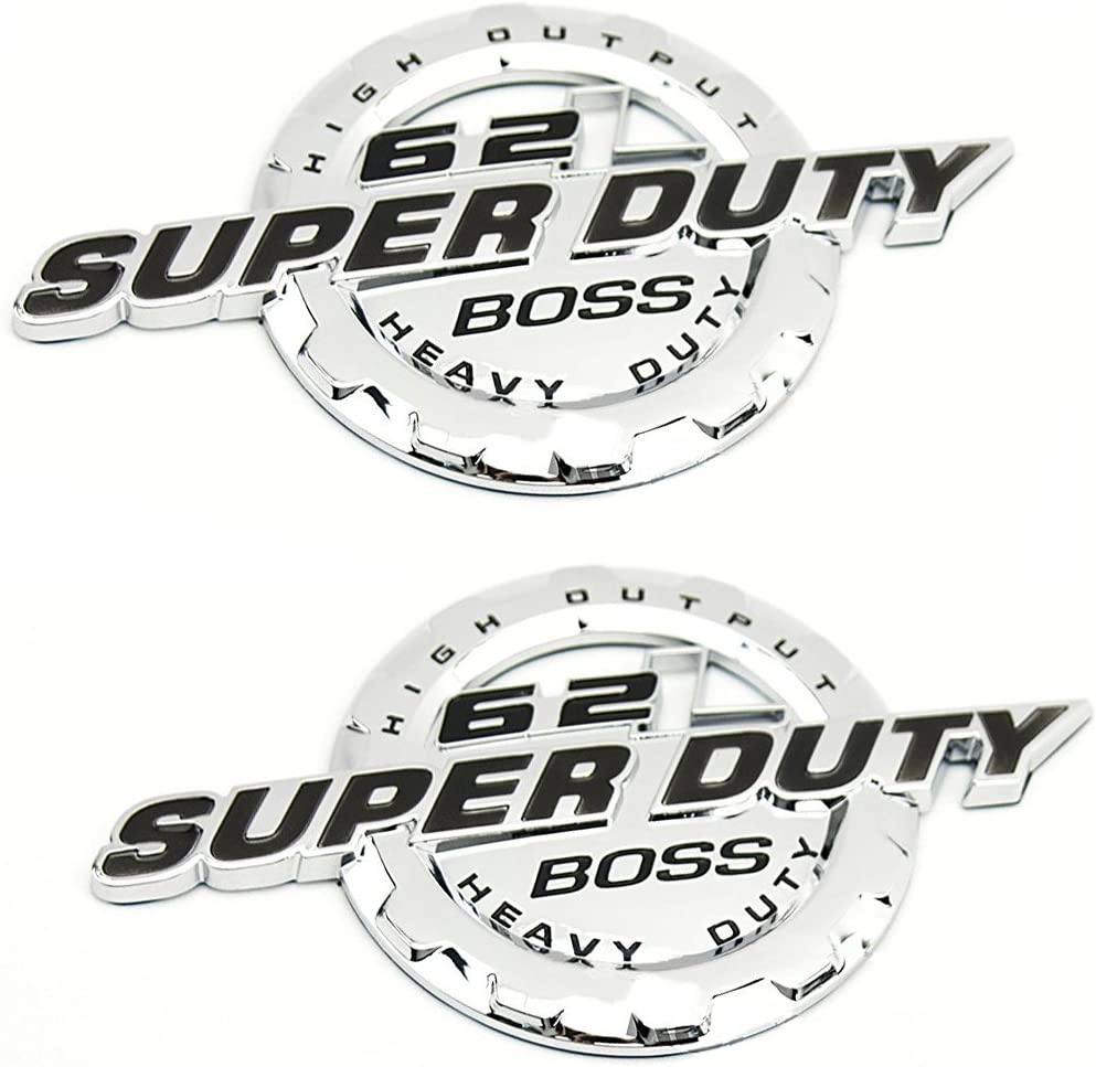 Chrome Black 1PCS 6.2L V8 Super Duty Boss Heavy Duty Side Fender Emblem Badge Decal Compatible for 11-17 Ford F250 F350