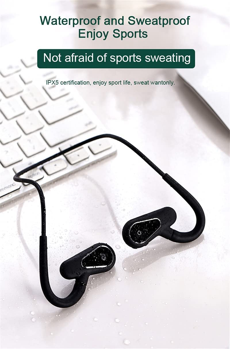 Bone Conduction Headphones Bluetooth 5.0 Waterproof Wireless Sports Headset with Mic Build-in MP3 Player Not in-Ear Earphones (Blue-16G Memory)