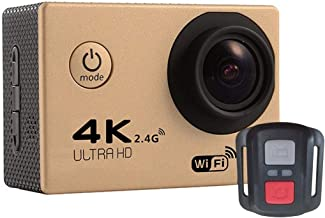 Sports Camcorder F60R 2.0 inch Screen 4K 170 Degrees Wide Angle WiFi Sport Action Camera Camcorder with Waterproof Housing Case & Remote Controller, Support 64GB Micro SD Card (Black) (Color : Gold)