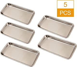 HNBun 5 Pack Stainless Steel Tray, Dental Medical Surgical Tray Sliver Tattoo Trays, Professional Lab Instrument Tools Trays & Piercing Instrument Tray, 225 x 115 x 20 MM